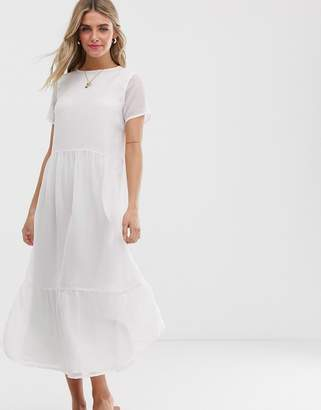 Pieces textured smock maxi dress