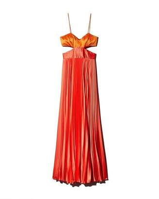 AMUR Elodie Pleated Color-Block Satin Gown