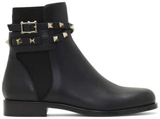 Valentino Black Garavani Rockstud Strap Ankle Boots