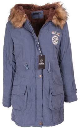 Promithi Womens Winter Fur Collar Padded Hooded Coat Jacket (XXXXL, )