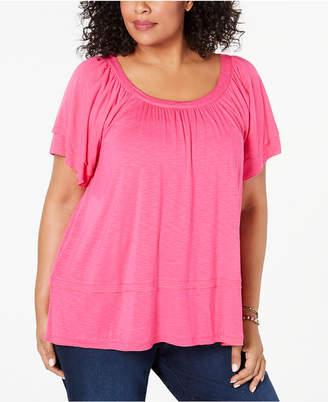 Style&Co. Style & Co Plus Size Flutter-Sleeve Swing-Hem Top