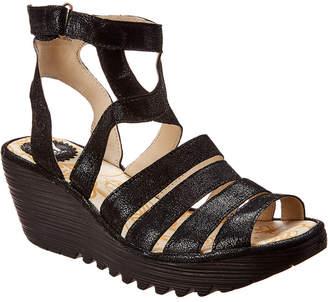 Fly London Yeba 895 Leather Wedge Sandal