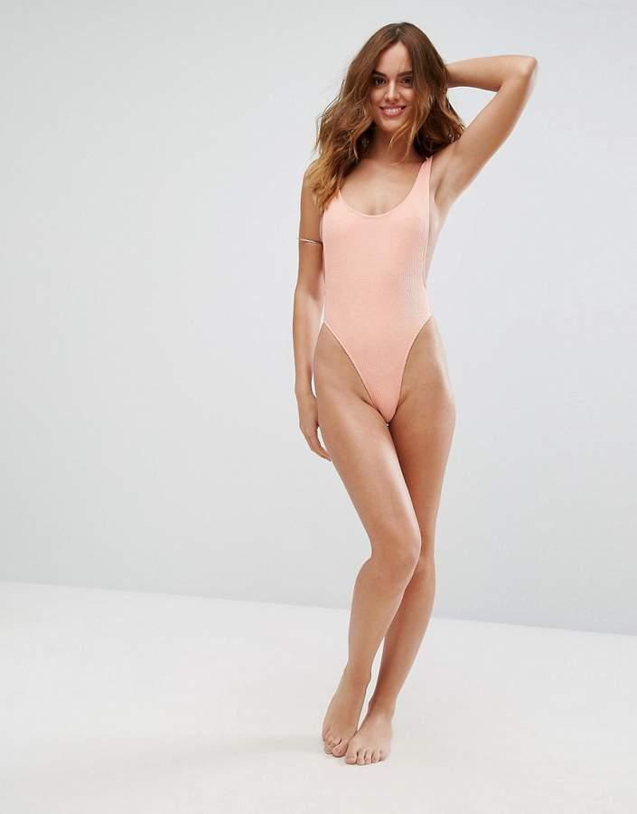 Motel Crinkle Low Back Swimsuit