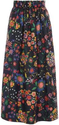 Tibi Tech Floral Smocked Waistband Skirt