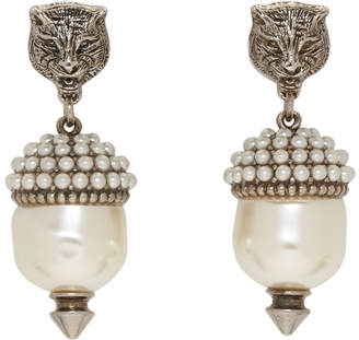 Gucci Silver Feline Pearl Earrings