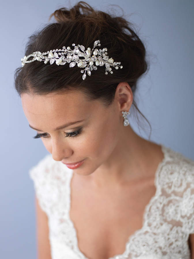 Etsy Pearl & Crystal Bridal Headband, Side Wedding Headpiece, Silver Floral Bridal Headband, Wedding Head