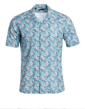 Saks Fifth Avenue Men's COLLECTION Short Sleeve Hawaiian Camp Shirt - Blue Orange White - Size XXL