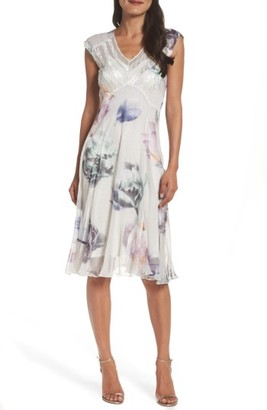 Women's Komarov Floral Charmeuse & Chiffon Midi Dress $308 thestylecure.com