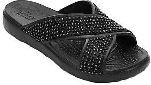 Crocs Embellished X-Strap Slide Sandals - Sloane $39 thestylecure.com