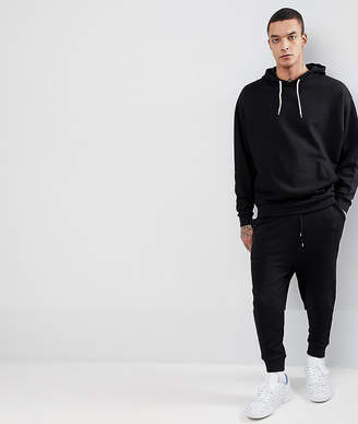Asos Tracksuit Oversized Hoodie/Drop Crotch Joggers In Black