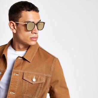Mens Brown brow bar navigator sunglasses