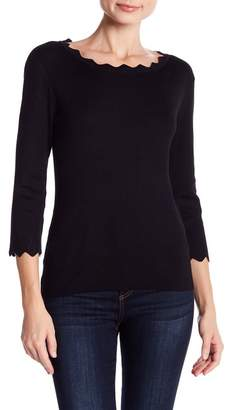 Philosophy Apparel Scallop 3\u002F4 Sleeve Sweater