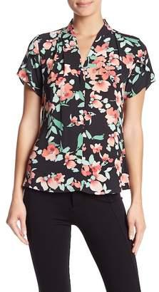 Modern American Designer Floral Print Flutter Sleeve Blouse