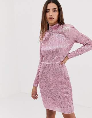 Club L London high neck open back sequin maxi dress