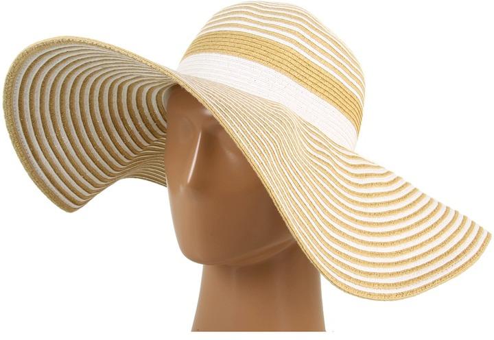 Echo Spectator Stripe Floppy Hat (Natural/White) - Hats