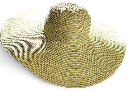Metallic-Striped Wide-Brim Straw Sun Hat