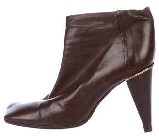 Louis Vuitton Leather Square-Toe Ankle Boots