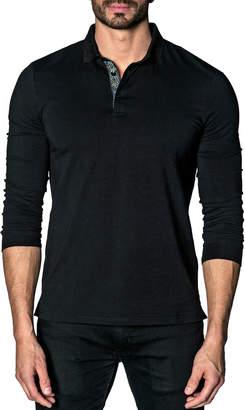 Jared Lang Long Sleeve Knit Polo Shirt