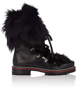 94d92739419b8 Christian Louboutin Men s Leather   Fox Fur Hiking Boots - Black