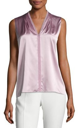 Elie Tahari Joelle Sleeveless Stretch-Silk Blouse, Winter Rose $228 thestylecure.com