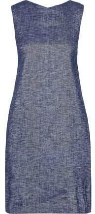 Linen-Blend Chambray Mini Dress