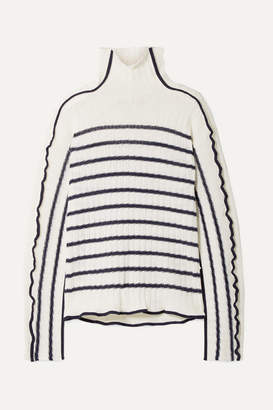Sies Marjan Harrie Canvas-trimmed Striped Ribbed Linen Turtleneck Sweater - Ivory