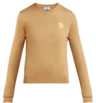 Prada Logo Intarsia Wool Sweater - Womens - Camel