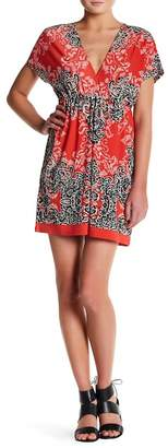 Papillon V-Neck Dolman Sleeve Print Dress