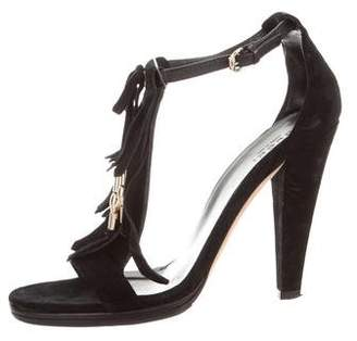 Gucci Suede Fringe High Heel Sandals