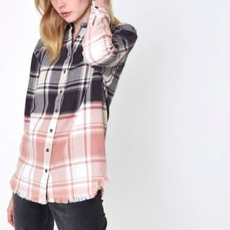 River Island Womens Pink ombre check frayed hem shirt