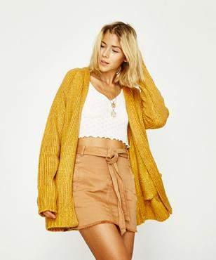 Don't Ask Amanda Baez Oversized Cardigan Golden