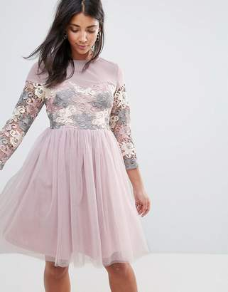 Amy Lynn Occasion Long Sleeve Embroidered Skater Dress With Tulle Skirt