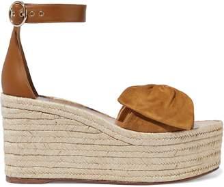 Valentino Bow-embellished Leather And Suede Platform Espadrilles