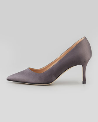 Manolo Blahnik BB Satin 70mm Pump, Gray