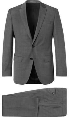 HUGO BOSS Grey Huge Genius Slim-fit Textured Super 130s Virgin Wool Suit