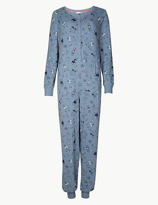 at marks and spencer a m s collection cotton rich llama print long sleeve onesie