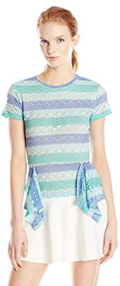 BCBGMAXAZRIA Women's Vicktoria Stretch Lace Peplum Top