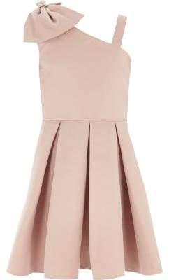 River Island Girls pink satin bow one shoulder prom dress