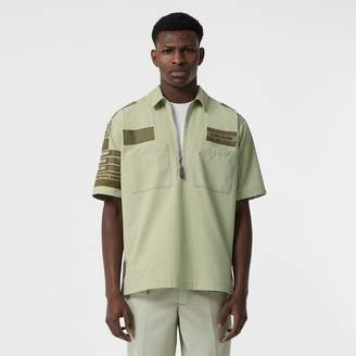 Burberry Short-sleeve Montage Print Military Cotton Shirt