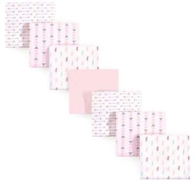 Luvable Friends 7-Pack Feathers Flannel Receiving Blankets in Pink