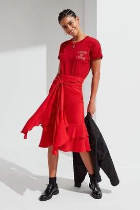 Urban Outfitters Waterfall Ruffle Midi Skirt