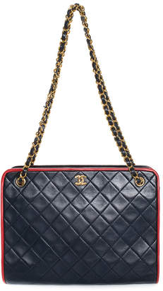 Chanel Navy Quilted Lambskin Leather Shoulder Bag