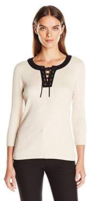 Jones New York Women's Lace up Sweater $13.98 thestylecure.com