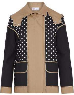 RED Valentino Paneled Polka-Dot Cotton-Gabardine Hooded Jacket