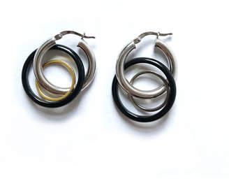 Double Disco Double O Black Mini Hoop Earrings