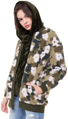 Juicy Couture Camo Floral Print Faux Sherpa Bomber Jacket