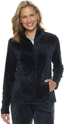 Croft & Barrow Women's Zip-Front Velour Jacket