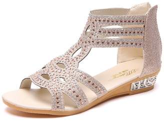 c7aeecdfb Zarbrina Women s Wedge Gladiator Sandals Rhinestone Open Toe Rivet Hollow  Out Cover Heel Summer Shoes