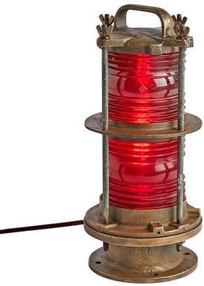 Rejuvenation Large Brass Nautical Signal Light w/ Red Fresnel Lens