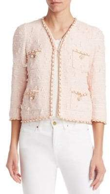 Edward Achour Braid-Trimmed Tweed Cropped Jacket